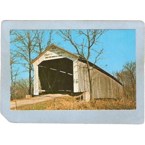 IN Rockvile Covered Bridge Postcard #14-61-16 McAllister Bridge Over Littl~93