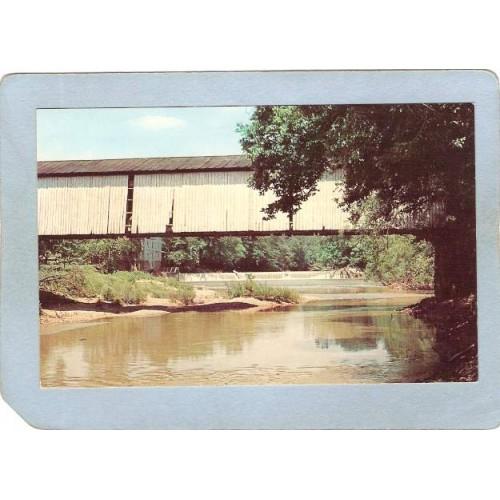 IN Mansfield Covered Bridge Postcard #14-61-20 Mansfield Bridge Over Big R~95