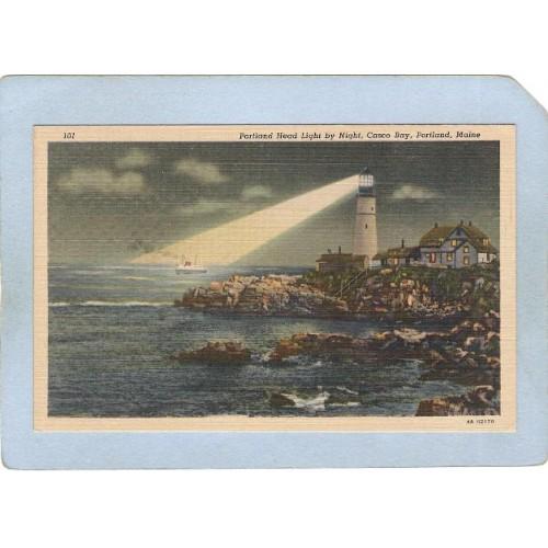 ME Portland Lighthouse Postcard Portland Head Lighthouse by night Casco Ba~164