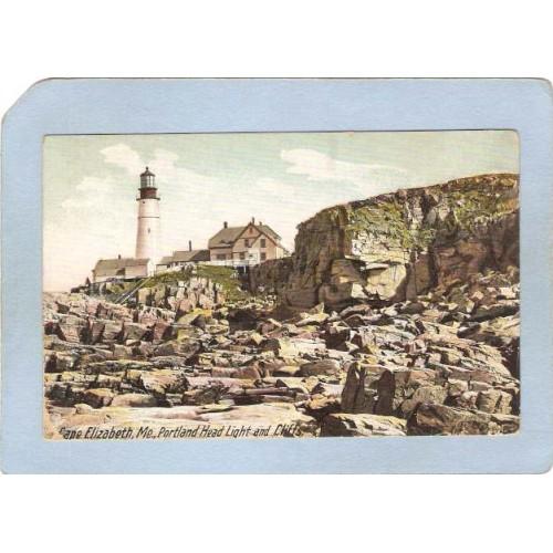 ME Portland Lighthouse Postcard Portland Head Lighthouse and cliffs lighth~165