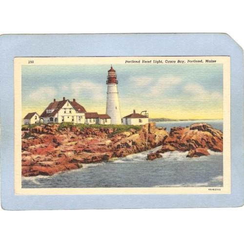 ME Portland Lighthouse Postcard Portland Head Lighthouse lighthouse_box1~176