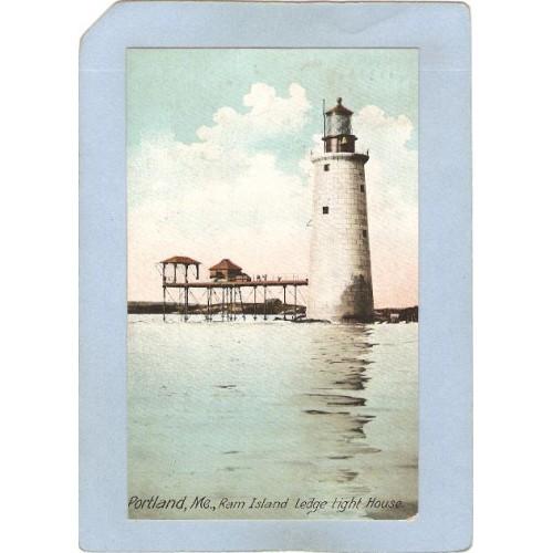ME Portland Lighthouse Postcard Ram Island Ledge Light lighthouse_box1~178
