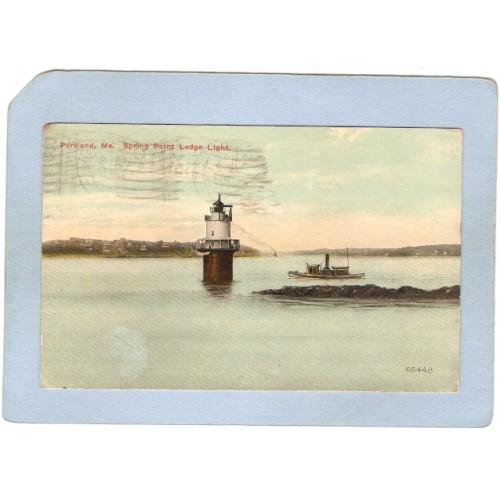 ME Portland Lighthouse Postcard Spring Point Ledge Light lighthouse_box1~179