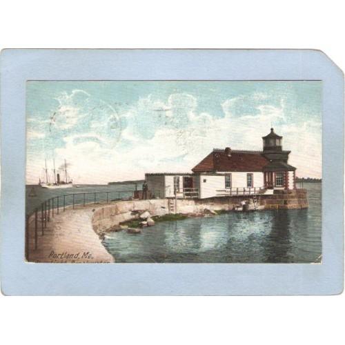 ME Portland Lighthouse Postcard Ram Light Breakwater undivided back lighth~180