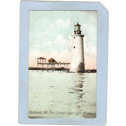 ME Portland Lighthouse Postcard Ram Island Ledge Light House lighthouse_bo~187