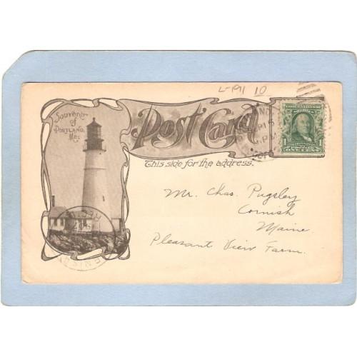 ME Portland Lighthouse Postcard Portland Head Lighthouse White Head on Cus~191