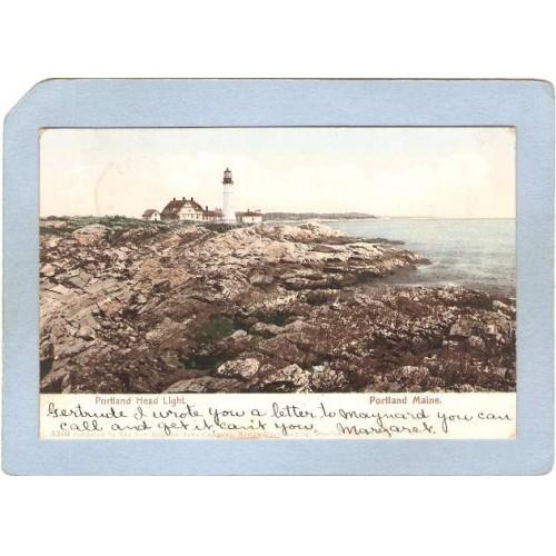 ME Portland Lighthouse Postcard Portland Head Lighthouse Undivided Back li~193