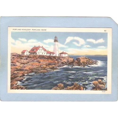 ME Portland Lighthouse Postcard Portland Head Lighthouse lighthouse_box1~194