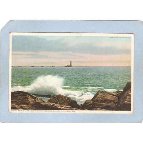 ME Portland Lighthouse Postcard Rams's Ledge Light from Cushing Island lig~195