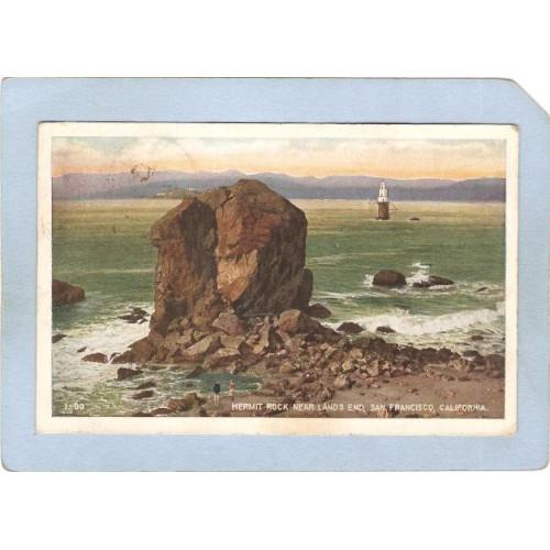 CA San Francisco Lighthouse Postcard Hermit Rock near Land End w/lighhouse~23