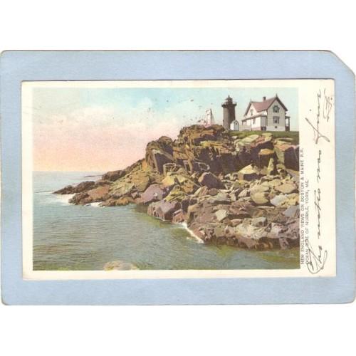 ME York Beach Lighthouse Postcard Nubble Light Lighthouse lighthouse_box1~277