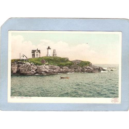 ME York Beach Lighthouse Postcard Nubble Light Lighthouse lighthouse_box1~282