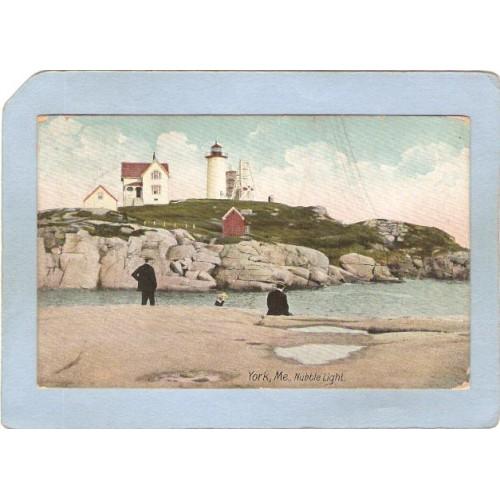 ME York Beach Lighthouse Postcard Nubble Light Lighthouse lighthouse_box1~284