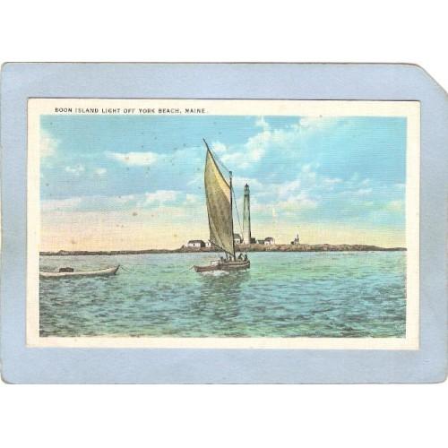 ME York Beach Lighthouse Postcard Boon Island Light Lighthouse off York Be~301