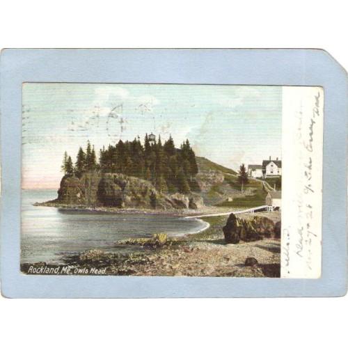 ME Rockland Lighthouse Postcard Owl's Head Lighthouse lighthouse_box1~305