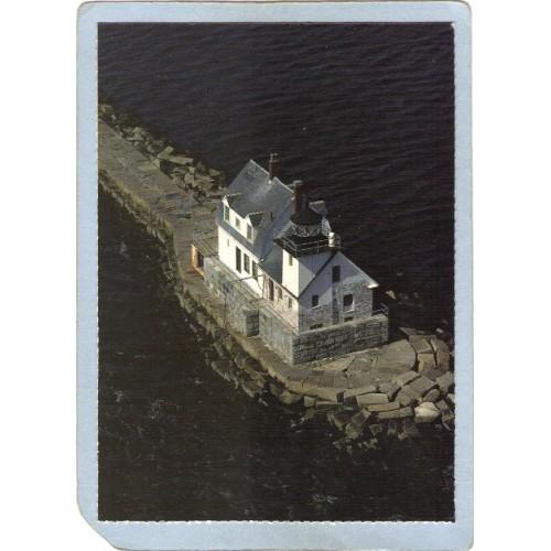 ME Rockland Lighthouse Postcard Breakwater Light Lighthouse lighthouse_box~312