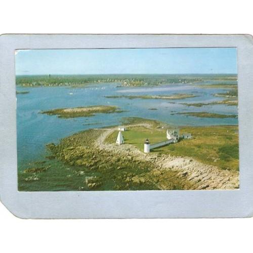 ME Cape Porpoise Lighthouse Postcard Goat Island Light lighthouse_box1~367