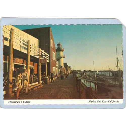 CA Marina Del Rey Lighthouse Postcard Fisherman's Village w/lighhouse ligh~37