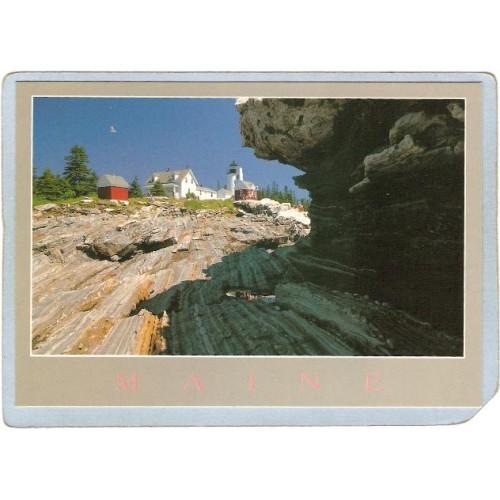 ME Bristol Lighthouse Postcard Pemaquid Point Light lighthouse_box1~384
