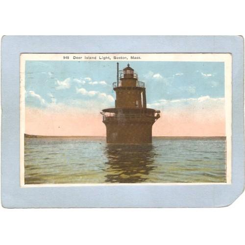 MA Boston Harbor Lighthouse Postcard Deer Island Light lighthouse_box1~433