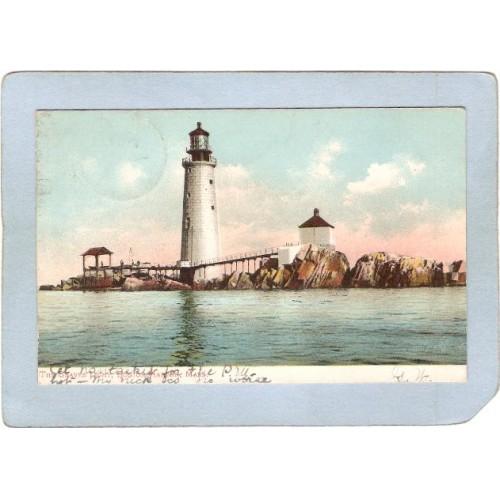 MA Boston Harbor Lighthouse Postcard The Graves Light Undivided Back light~443