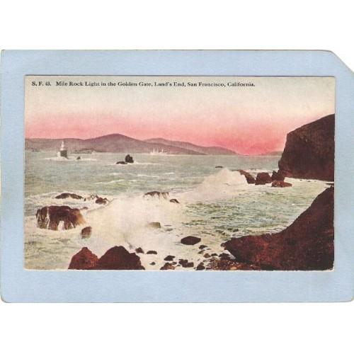 CA San Francisco Lighthouse Postcard Mile Rock Light House lighthouse_box1~44