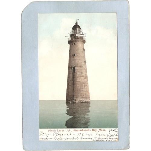 MA boston Harbor Lighthouse Postcard Minot's Ledge Light lighthouse_box1~462