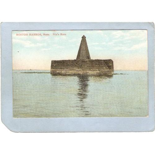 MA Boston Harbor Lighthouse Postcard Nix's Mate lighthouse_box1~476