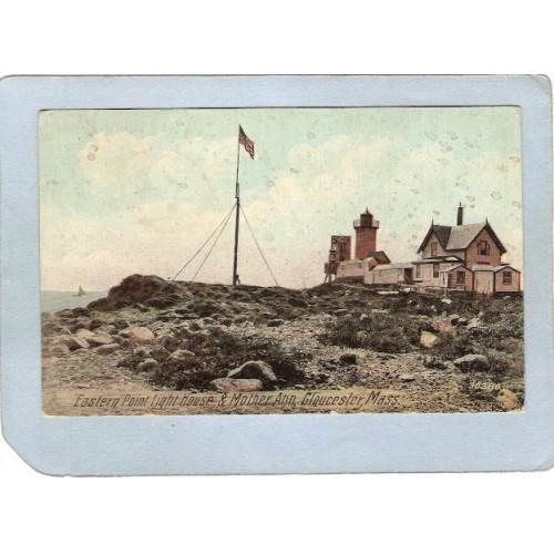 MA Gloucester Lighthouse Postcard Eastern Point Light House & Mother Ann l~500