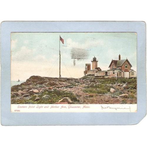 MA Gloucester Lighthouse Postcard Eastern Point Light & Mother Ann Undivid~505
