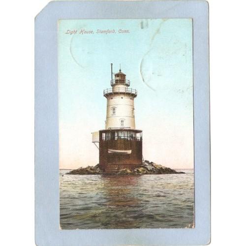 CT Stamford Lighthouse Postcard Light House lighthouse_box1, ct_box5, ~57