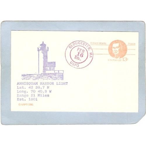 MA Gloucester Lighthouse Postcard Annisquam Harbor Light Special Cancellat~615
