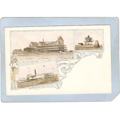 MA Boston Harbor Lighthouse Postcard Bug Light Steamer Myles Standish & Ho~617