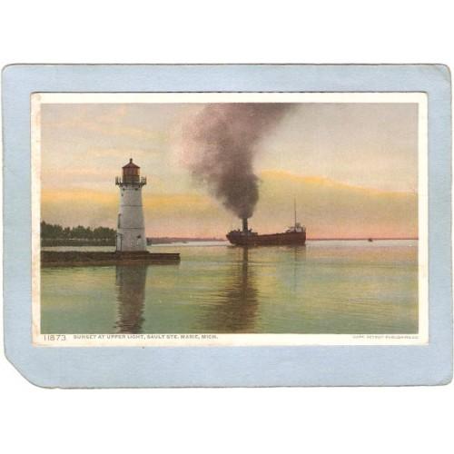 MI Sault St Marie Lighthouse Postcard Moonlight At Upper Light lighthouse_~637