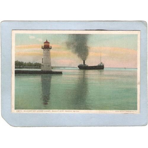 MI Sault St Marie Lighthouse Postcard Sunset At Upper Light lighthouse_box~639