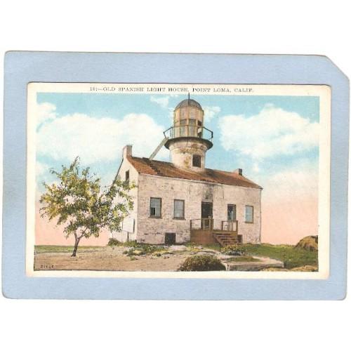 CA San Diego Lighthouse Postcard Old Spanish Lighthouse Point Loma lightho~8