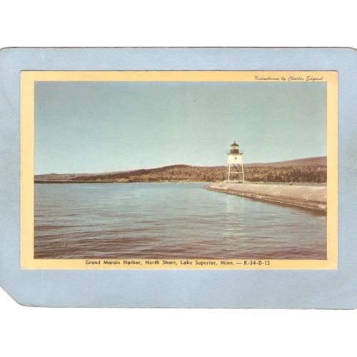 MN Lake Superior Lighthouse Postcard Grand Marias Harbor North Shore light~660
