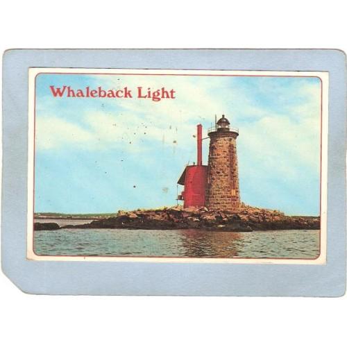 NH Portsmouth Lighthouse Postcard Whaleback Light lighthouse_box2~685