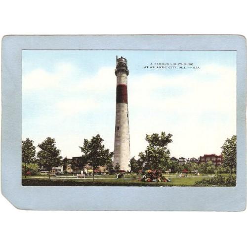 NJ Atlantic City Lighthouse Postcard A Famous Lighthouse At Atlantic City ~712
