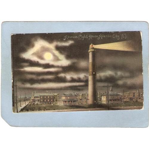 NJ Atlantic City Lighthouse Postcard Absecom Light House At Night lighthou~720