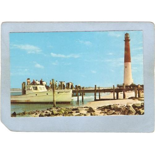 NJ Barnegat Light Lighthouse Postcard Barnegat Light Inlet lighthouse_box2~726