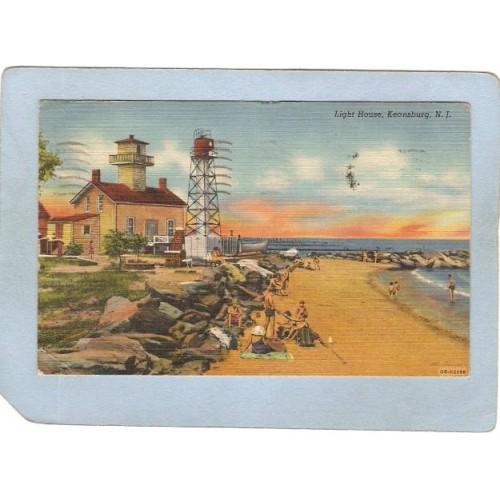 NJ Keansburg Lighthouse Postcard Light House lighthouse_box2~750