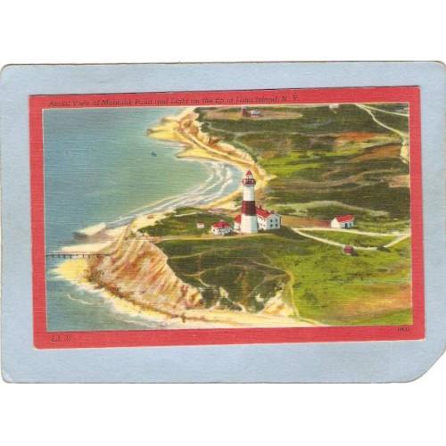 New York Montauk Point Lighthouse Postcard Aerial View Of Montauk Point & ~795