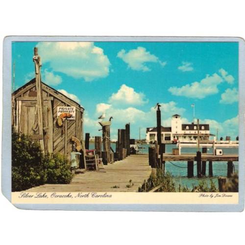 NC Ocracoke Island Lighthouse Postcard Coast Guard Station lighthouse_box2~839