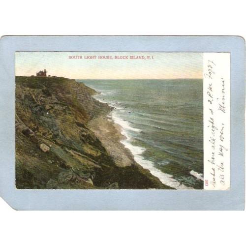RI Block Isalnd Lighthouse Postcard South Light House lighthouse_box2~884