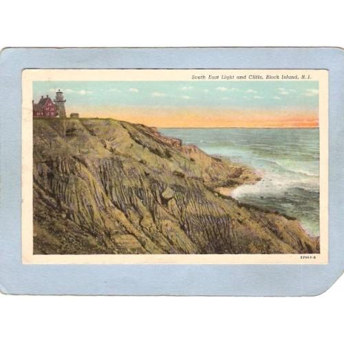 RI Bock Island Lighthouse Postcard South East Light & Cliffs lighthouse~885