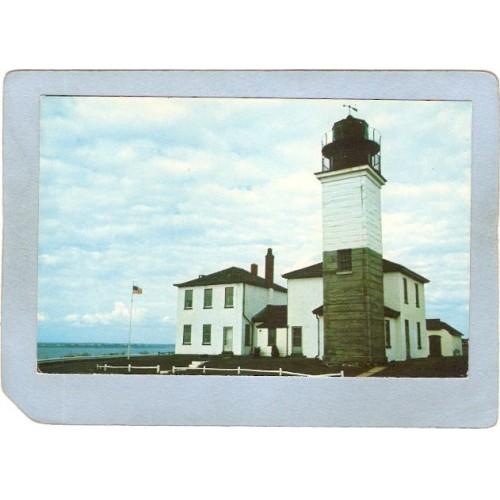 RI Jamestown Lighthouse Postcard Beaver Tail Light House lighthouse_box~892