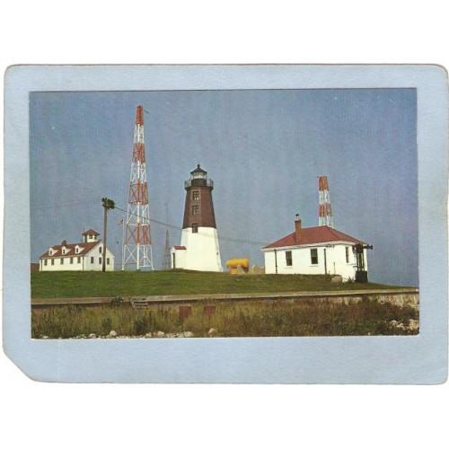 RI Narragansett Pier Lighthouse Postcard Point Judith Lighthouse & Coast G~910