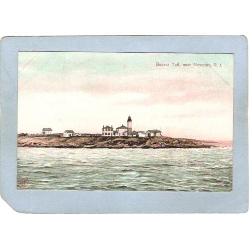 RI Newport Lighthouse Postcard Beaver Tail lighthouse_box2~916