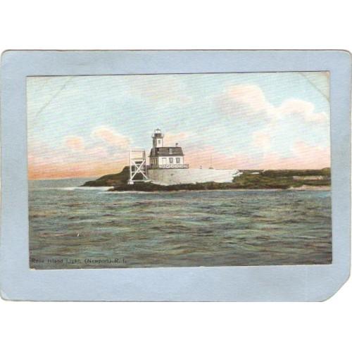 RI Newport Lighthouse Postcard Rose Island Light lighthouse_box2~921